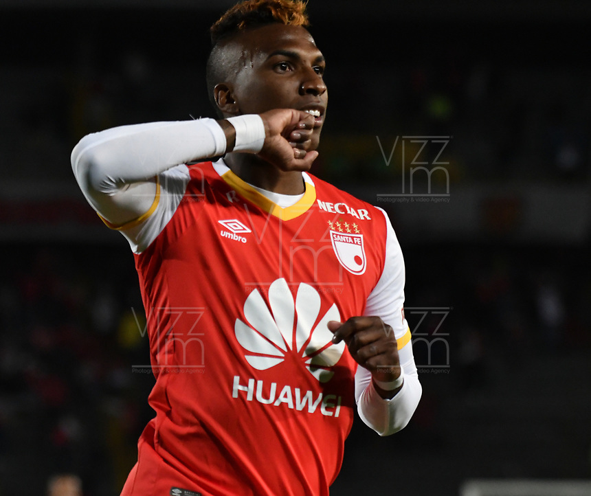 BOGOTA - COLOMBIA – 16 – 03 - 2017: Johan Arango  jugador de Independiente Santa Fe celebra el gol anotado a Sporting Cristal, durante partido entre Independiente Santa Fe de Colombia y Sporting Cristal de Peru, de la fase de grupos, grupo 2, fecha 2 por la Copa Conmebol Libertadores Bridgestone 2017, en el estadio Nemesio Camacho El Campin, de la ciudad de Bogota. / Johan Arango player of Independiente Santa Fe, celebrates a scored goal to Sporting Cristal, during a match between Independiente Santa Fe of Colombia and Sporting Cristal of Peru, of the group stage, group 2 of the date 2, for the Conmebol Copa Libertadores Bridgestone 2017 at the Nemesio Camacho El Campin in Bogota city. VizzorImage / Luis Ramirez / Staff.