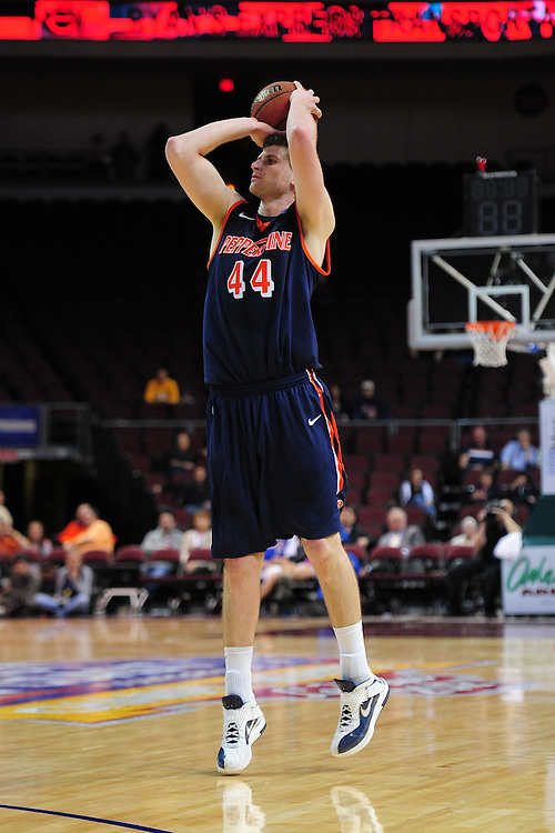 March 1, 2012; Las Vegas, NV, USA; Pepperdine Waves center Corbin Moore (44) shoots the ball against the San Diego Toreros during the WCC Basketball Championships at Orleans Arena.