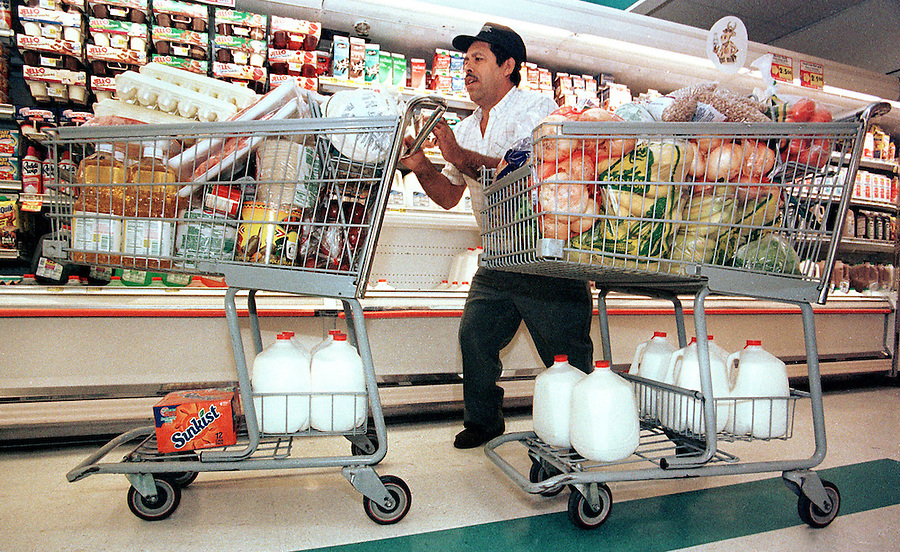 With the $350 he collected from his 29 housemates, Antonio bought 10 gallons of milk, 700 tortillas, 180 eggs, 40 lbs of bananas, and everything else on the week's grocery list.