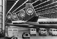 Air Canada Planes Grounded by the Strike sit mutely in the deserted hangar at malton. The nation-wide walkout of machinists and auxiliary peronnel also caused the disruption of thousands of person' travel plans<br /> Griffin, Doug<br /> Picture, 1966, English