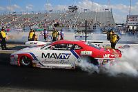 Sep 13, 2013; Charlotte, NC, USA; NHRA pro stock driver Greg Stanfield during qualifying for the Carolina Nationals at zMax Dragway. Mandatory Credit: Mark J. Rebilas-