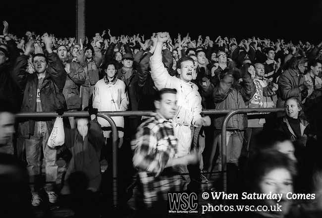 Fans celebrate at the final whistle, Boro 3, Blackburn Rovers 2, 5th December 1992. Photo by Paul Thompson