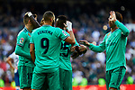 Players of Real Madrid celebrate goal during La Liga match between Real Madrid and RCD Espanyol at Santiago Bernabeu Stadium in Madrid, Spain. December 07, 2019. (ALTERPHOTOS/A. Perez Meca)