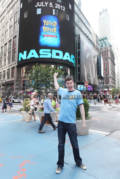 Daniel Clarkson from the Off-Broadway Smash Hit 'Potted Potter' ring the closing bell at NASDAQ in Times Square, New York City on 7/5/2012