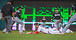 20 September 2013: Washington Nationals outfielder Bryce Harper slides safely into second during game action against the Miami Marlins at Nationals Park in Washington, DC. The Nationals defeated the Marlins 8-0 to take the second game of their 4-game series. Mandatory Credit: Ed Wolfstein Photo *** RAW (NEF) Image File Available ***