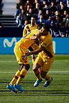 Samuel Umtiti (L) and Luis Suarez (R) of FC Barcelona celebrate goal during La Liga match between CD Leganes and FC Barcelona at Butarque Stadium in Leganes, Spain. November 23, 2019. (ALTERPHOTOS/A. Perez Meca)