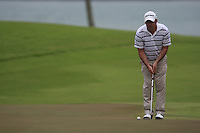 Paul McGinley (IRL) lines up his putt on the 6th green during Friday's resumed Round 2 of the 2011 Barclays Singapore Open, Singapore, 11th November 2011 (Photo Eoin Clarke/www.golffile.ie)
