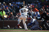 SAN FRANCISCO, CA - APRIL 29:  Buster Posey #28 of the San Francisco Giants bats against the Los Angeles Dodgers during the game at AT&T Park on Sunday, April 29, 2018 in San Francisco, California. (Photo by Brad Mangin)