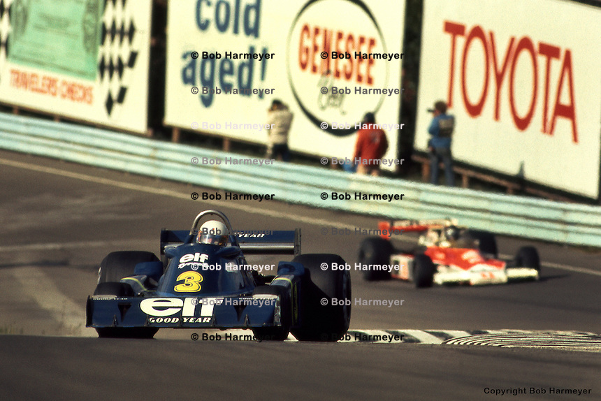 WATKINS GLEN, NY: Jody Scheckter drives the Tyrrell P34 4/Ford Cosworth DFV during the United States Grand Prix East on October 10, 1976, at the Watkins Glen Grand Prix Race Course near Watkins Glen, New York.