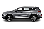 Car driver side profile view of a 2019 Hyundai Santa FE Shine 5 Door SUV