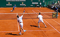 Andy MURRAY (GBR) & Ross HUTCHINS (GBR) against Bob BRYAN (USA) & Mike BRYAN (USA) in the second round of the men's doubles. Bryan & Bryan beat Murray & Hutchins 6-7 6-2 10-2..International Tennis - 2010 ATP World Tour - Masters 1000 - Monte-Carlo Rolex Masters - Monte-Carlo Country Club - Alpes-Maritimes - France..© AMN Images, Barry House, 20-22 Worple Road, London, SW19 4DH.Tel -  + 44 20 8947 0100.Fax - + 44 20 8947 0117