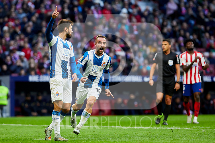 Sergi Darder of RCD Espanyol celebrates goal during La Liga match between Atletico de Madrid and RCD Espanyol at Wanda Metropolitano Stadium in Madrid, Spain. November 10, 2019. (ALTERPHOTOS/A. Perez Meca)