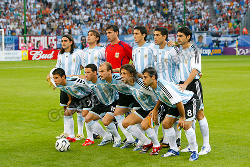 Jun 10, 2006; Hamburg, GERMANY; The Argentina starting eleven pose for photos prior to their match against the Ivory Coast in first round group C play of the 2006 FIFA World Cup at FIFA World Cup Stadium Hamburg. Front row: forward (7) Javier Saviola, midfielder (18) Maxi Rodriguez, midfielder (5) Esteban Cambiasso, forward (9) Hernan Crespo and midfielder (8) Javier Mascherano. Back row: defender (3) Juan Sorin, defender (6) Gabriel Heinze, goalkeeper (1) Roberto Abbondanzieri, defender (21) Nicolas Burdisso, midfielder (10) Juan Riquelme and defender (2) Roberto Ayala. Argentina defeated the Ivory Coast 2-1. Mandatory Credit: Ron Scheffler-US PRESSWIRE Copyright © Ron Scheffler