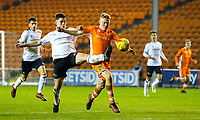 Blackpool's Owen Watkinson is tackled by Derby County's Eiran Cashin<br /> <br /> Photographer Alex Dodd/CameraSport<br /> <br /> The FA Youth Cup Third Round - Blackpool U18 v Derby County U18 - Tuesday 4th December 2018 - Bloomfield Road - Blackpool<br />  <br /> World Copyright &copy; 2018 CameraSport. All rights reserved. 43 Linden Ave. Countesthorpe. Leicester. England. LE8 5PG - Tel: +44 (0) 116 277 4147 - admin@camerasport.com - www.camerasport.com