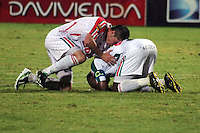 CÚCUTA -COLOMBIA, 09-08-2013.  Jugadores de Patriotas, se lamentan después de perder el partido contra Cúcuta válido por la fecha 3 de la Liga Postobon II disputado en el estadio General Santander de la ciudad de Cucuta, julio 26 de 2013./ Patriotas players lament lost the match against Cucuta valid for the third date for the Postobon League II at the General Santander Stadium in Cucuta city, July 1th, 2013. Photo: VizzorImage/Manuel Hernandez/STR