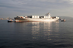 Container ship at moorings off Gibraltar, Port of Algeciras, Spain