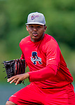 16 July 2017: Auburn Doubledays pitcher Yonathan Ramirez works on pre-game drills prior to a game against the Vermont Lake Monsters at Centennial Field in Burlington, Vermont. The Monsters defeated the Doubledays 6-3 in NY Penn League action. Mandatory Credit: Ed Wolfstein Photo *** RAW (NEF) Image File Available ***