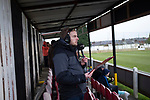 Atherton Collieries 1, Boston United 0, 23/11/19. Alder House, FA Trophy, third qualifying round. A broadcaster from BBC Radio Lincolnshire commentating on the first-half action as Atherton Collieries played Boston United in the FA Trophy third qualifying round at the Skuna Stadium. The home club were formed in 1916 and having secured three promotions in five season played in the Northern Premier League premier division. This was the furthest they had progressed in the FA Trophy and defeated their rivals from the National League North by 1-0, Mike Brewster scoring a late winner watched by a crowd of 303 spectators. Photo by Colin McPherson.