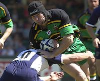 Sport , Rugby, Zurich Championship, 01/06/2002, Bristol v Northampton, Craig Moir breaking for the Saints.   [Mandatory Credit, Peter Spurier/ Intersport Images].