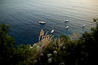 Boats are seen below Giardini di Augusto on Monday, Sept. 21, 2015, on the island of Capri in Italy. (Photo by James Brosher)