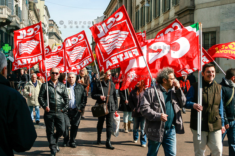 Milano, manifestazione contro i tagli previsti dalla riforma dell'istruzione. FILTEA CGIL, Federazione Italiana Lavoratori Tessili Abbigliamento --- Milan, demonstration against the spending cut provided by the school reform. Textile workers of clothing industry