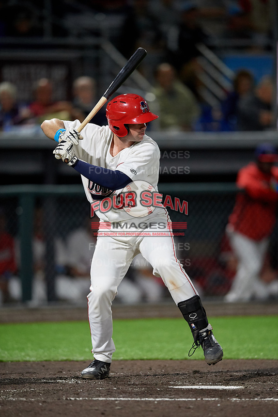 Auburn Doubledays Andrew Pratt (33) at bat during a NY-Penn League game against the West Virginia Black Bears on August 23, 2019 at Falcon Park in Auburn, New York.  West Virginia defeated Auburn 6-5, the second game of a doubleheader.  (Mike Janes/Four Seam Images)
