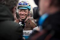 Oliver Naesen (BEL/AG2R La Mondiale), post race, interview <br /> <br /> 71st Kuurne-Brussel-Kuurne (2019)<br /> Kuurne > Kuurne 201km (BEL)<br /> <br /> ©kramon