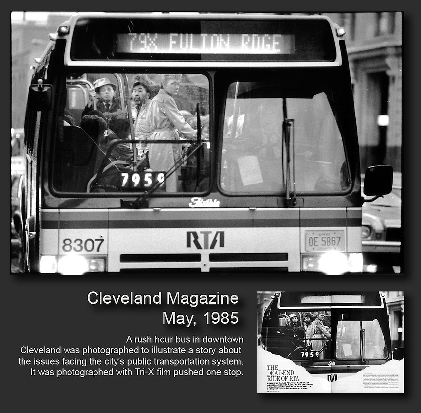A rush hour bus in downtown Cleveland was photographed to illustrate a story about the issues facing the city's public transportation system. Ernie Mastroianni photo for Cleveland Magazine.