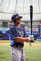 Tampa Bay Rays Daniel De La Calle (13) during an instructional league game against the Boston Red Sox on September 24, 2015 at Tropicana Field in St Petersburg, Florida.  (Mike Janes/Four Seam Images)