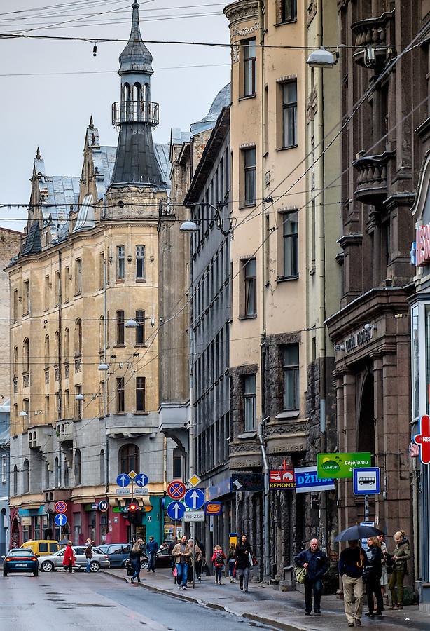 RIGA, LATVIA - CIRCA MAY 2014: View of Marijas iela street in the center of Riga.