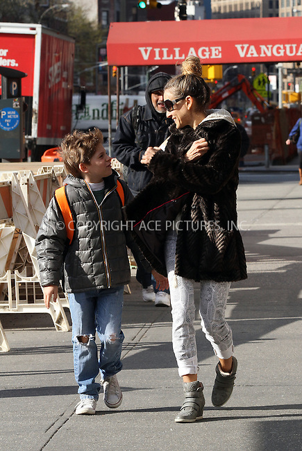 WWW.ACEPIXS.COM....April 22 2013, New York City....Sarah Jessica Parker takes her son James Broderick to school in the West Village on April 22 2013 in New York City........By Line: Zelig Shaul/ACE Pictures......ACE Pictures, Inc...tel: 646 769 0430..Email: info@acepixs.com..www.acepixs.com