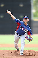 Daniel Duarte (16) of the AZL Rangers pitches during a game against the AZL Padres at the San Diego Padres Spring Training Complex on July 4, 2015 in Peoria, Arizona. Padres defeated the Rangers, 9-2. (Larry Goren/Four Seam Images)