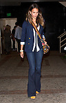 July 31st 2012 <br /> <br /> Jessica Alba wearing tight bell bottom jeans a rainbow Jamaican style Red black yellow  strap purse with a blue blazer jacket leaving a sushi restaurant on sunset blvd in west Hollywood <br /> <br /> <br /> AbilityFilms@yahoo.com<br /> 805 427 3519<br /> www.AbilityFilms.com