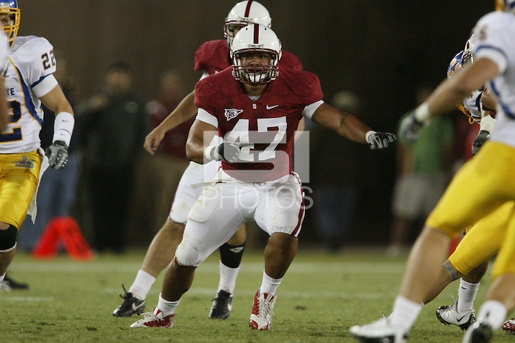 STANFORD, CA - SEPTEMBER 20:  Josh Catron of the Stanford Cardinal during Stanford's 23-10 win over the San Jose State Spartans on September 20, 2008 at Stanford Stadium in Stanford, California.