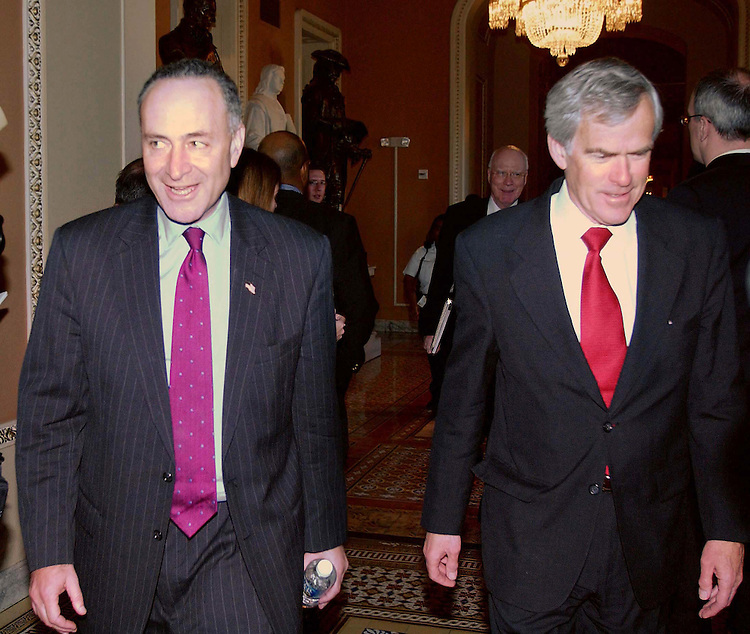 11/16/04.SENATE DEMOCRATIC LEADERSHIP ELECTIONS FOR 109TH CONGRESS--Sen. Charles E. Schumer, D-N.Y., who will take over the helm of the Democratic Senatorial Campaign Committee, and Sen. Jeff Bingaman, D-N.M., after the Democratic caucus meeting..CONGRESSIONAL QUARTERLY PHOTO BY SCOTT J. FERRELL