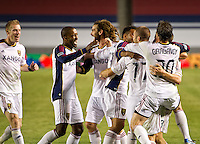 CARSON, CA - June 16, 2012: Real Salt Lake teammates celebrates their victory during the Chivas USA vs Real Salt Lake match at the Home Depot Center in Carson, California. Final score Real Salt Lake 3, Chivas USA 0.