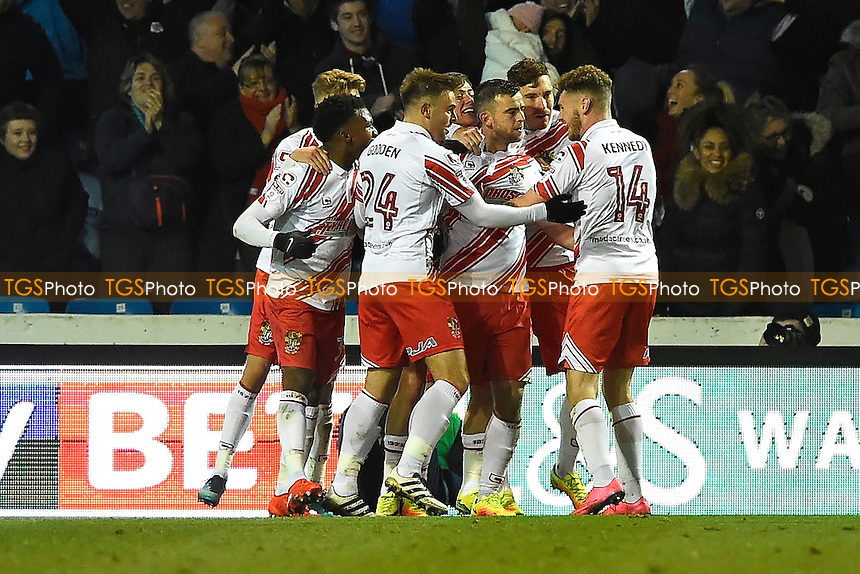 Steven Schumacher of Stevenage middle is congratulated after scoring the first goal during Portsmouth vs Stevenage, Sky Bet EFL League 2 Football at Fratton Park on 26th November 2016