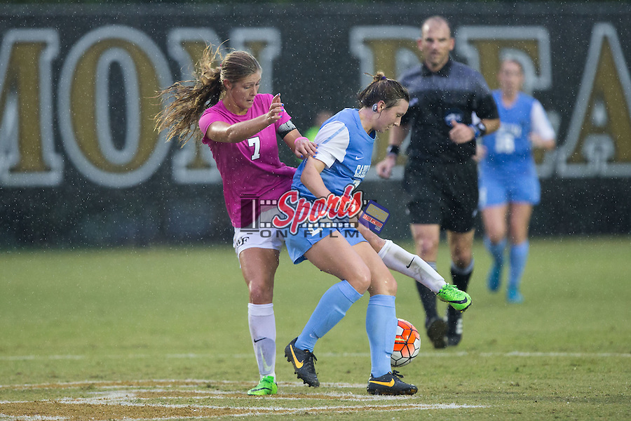 Dorian Bailey (29) of the North Carolina Tar Heels battles for the ball with Sarah Teegarden (7) of the Wake Forest Demon Deacons during first half action at Spry Soccer Stadium on September 27, 2015 in Winston-Salem, North Carolina.  The Tar Heels defeated the Demon Deacons 1-0.  (Brian Westerholt/Sports On Film)