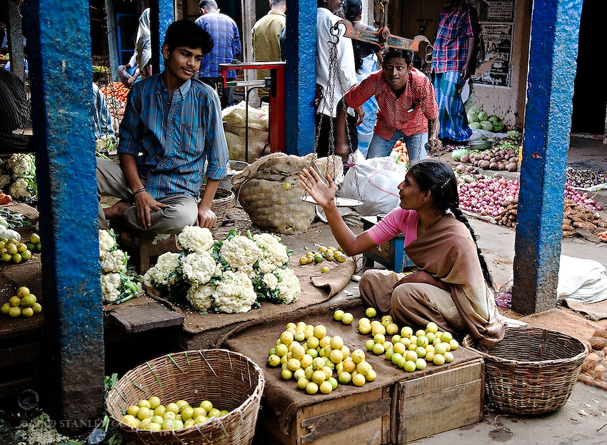Indian open air market in southern india