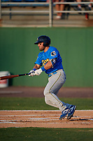 Myrtle Beach Pelicans Cam Balego (22) at bat during a Carolina League game against the Potomac Nationals on August 14, 2019 at Northwest Federal Field at Pfitzner Stadium in Woodbridge, Virginia.  Potomac defeated Myrtle Beach 7-0.  (Mike Janes/Four Seam Images)