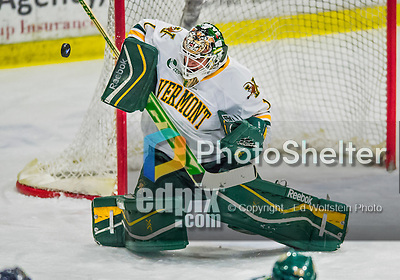 21 February 2015:  University of Vermont Catamount Goaltender Mike Santaguida, a Sophomore from Mississauga, Ontario, makes a first period save against the Merrimack College Warriors at Gutterson Fieldhouse in Burlington, Vermont. The teams played to a scoreless tie as the Cats wrapped up their Hockey East regular home season. Mandatory Credit: Ed Wolfstein Photo *** RAW (NEF) Image File Available ***