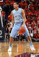 North Carolina guard Marcus Paige (5) during an NCAA basketball game Monday Jan. 20, 2014 in Charlottesville, VA. Virginia defeated North Carolina 76-61.