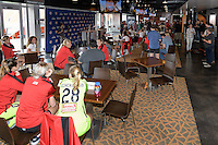 Houston, TX - Thursday Oct. 06, 2016: Western New York Flash players are interviewed  during media day prior to the National Women's Soccer League (NWSL) Championship match between the Washington Spirit and the Western New York Flash at BBVA Compass Stadium.