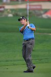 Louis Oosthuizen playing his second shot on the first on.day one of the Abu Dhabi HSBC Golf Championship 2011, at the Abu Dhabi golf club 20/1/11..Picture Fran Caffrey/www.golffile.ie.