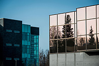 Spruce and birch trees are reflected in the windows of the UAA's Student Union across from the Engineering and Industry Building.