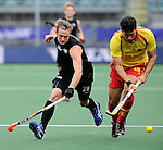 The Hague, Netherlands, June 15: Hugo Inglis #29 of New Zealand defends against Andres Mir #18 of Spain during the field hockey placement match (Men - Place 7th/8th) between Spain and the Black Sticks of New Zealand on June 15, 2014 during the World Cup 2014 at Kyocera Stadium in The Hague, Netherlands.  Final score after full time 1-1 (0-1). The Black Sticks of New Zealand win the shoot-out 1-4.  (Photo by Dirk Markgraf / www.265-images.com) *** Local caption ***