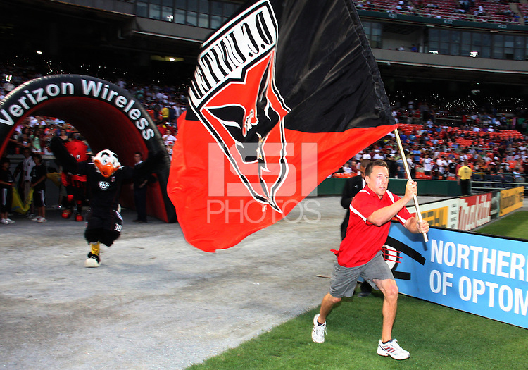 Banner of D.C. United enters the field during an international friendly match against A.C. Milan at RFK Stadium, on May 26 2010 in Washington DC. United won 3-2.