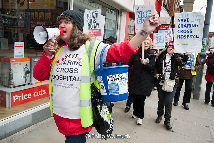 Residents and health workers march to Hammersmith Town Hall after a rally called to protest at proposed closures of A&E departments at Hammersmith and Charing Cross hospitals.