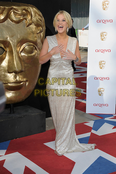 Helen Skelton.Arrivals at the Arqiva British Academy Television Awards held at the Royal Festival Hall, London, England..May 27th, 2012.BAFTA BAFTAS full length silver cleavage sleeveless dress mouth open smiling funny hands arms.CAP/PL.©Phil Loftus/Capital Pictures.