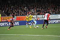 VOETBAL: LEEUWARDEN: 26-10-2014, Canbuurstadion, Cambuur - Feyenoord, uitslag 0-1, Furdjel Narsingh (Cambuur | #7) aan de bal, ©foto Martin de Jong